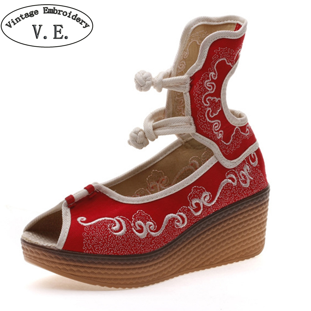 Chinese Women Sandals Canvas Embroidered Vintage Original High Heel Peep Top Wedges Platform Shoes For Ladies Zapatos Mujer large size 8cm high 2016 women casual canvas shoes woman platform wedges high top with zippers ladies zapatos mujer espadrilles