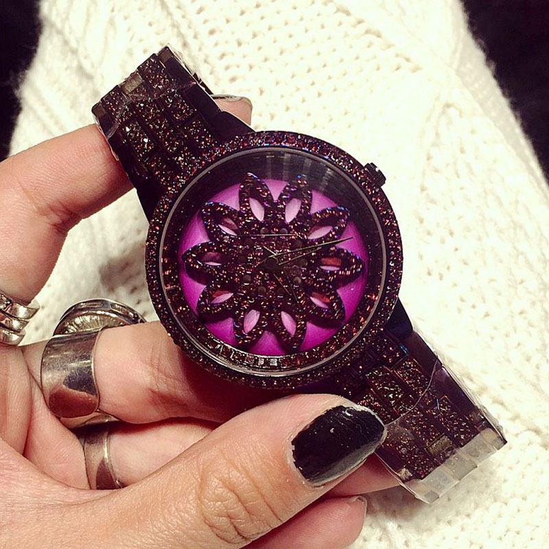 Luxury Brand Women Watches Full Diamond Rotating Dial Wristwatch Relojes Mujer Women Purple Watch Relogio Feminino New Arrivals fpv mini 5 8g 150ch mini fpv receiver uvc video downlink otg vr android phone