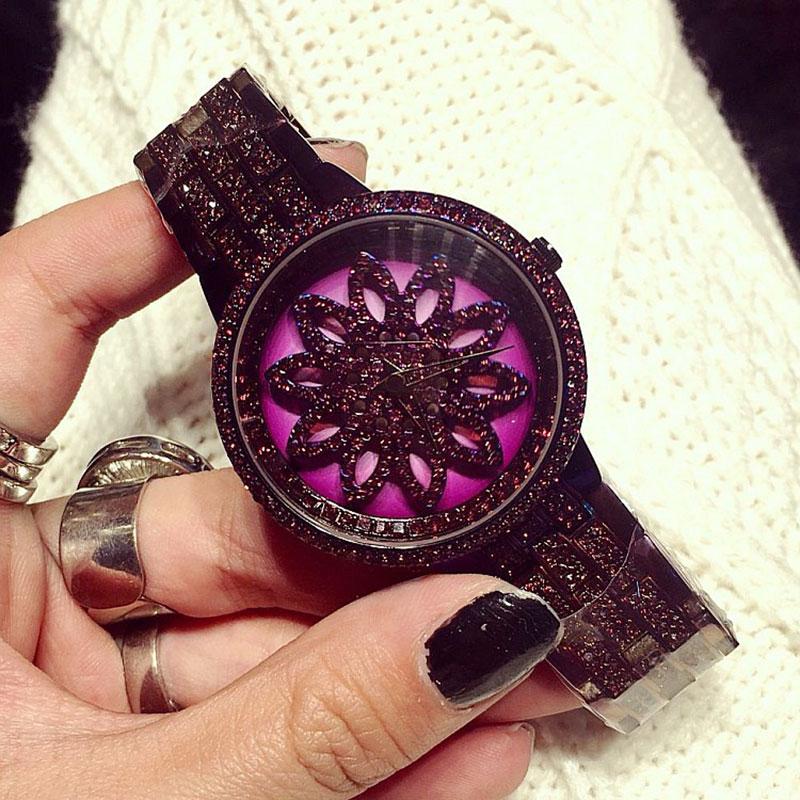 Luxury Brand Women Watches Full Diamond Rotating Dial Wristwatch Relojes Mujer Women Purple Watch Relogio Feminino New Arrivals вытяжка gorenje wht68aini wht68aini