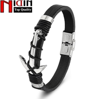 Fashion Charm Genuine Leather Bracelets Bangles Stainless Steel Anchor Bracelet For Women Mens Jewelry Pulsera