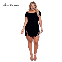 Summer Dress Woman XXXL Plus Size Sexy Bodycon Office Ladies Hollow Beach Party Solid Above Knee Mini Bandage Off the shoulder