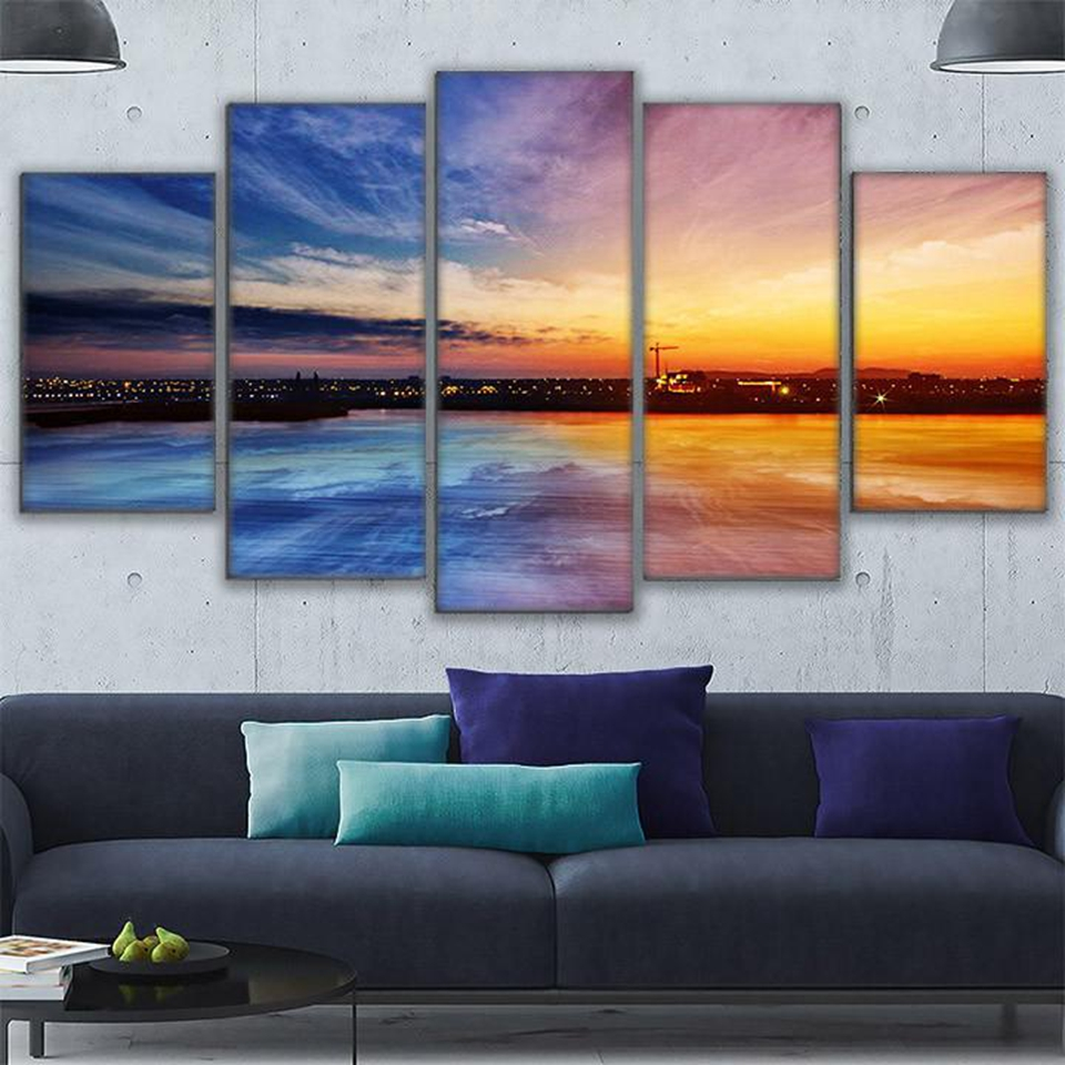 Modular Wall Art Canvas Painting 5 Pieces City On The Water Sunset  Landscape Pictures Living Room Home Decor Poster Frame PENGDA In Painting U0026  Calligraphy ...