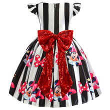 Baby Girls Minnie Striped Big Bow Kids Christmas Dress Cloth