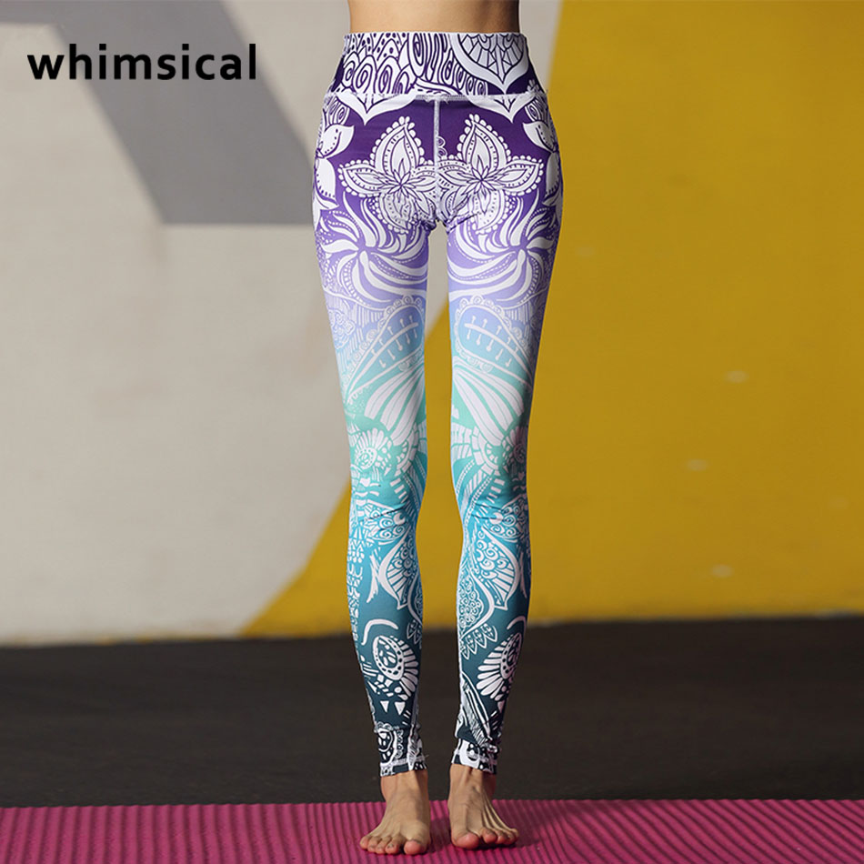 Whimsical Stunning Beautiful Yoga Pants High Waist Floral Printed Leggings Purple Blue O ...