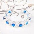 Promotion 2PCS 1 Lot Luckyshine Fire Round Blue Created Topaz Gems Silver Plated Bangles Russia Australia Bracelets Bangles