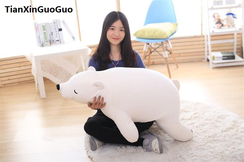 large 110cm lovely prone bear plush toy down cotton white polar bear soft doll throw pillow birthday gift s0396 big cute simulation polar bear toy handicraft lovely white polar bear doll gift about 31x18cm