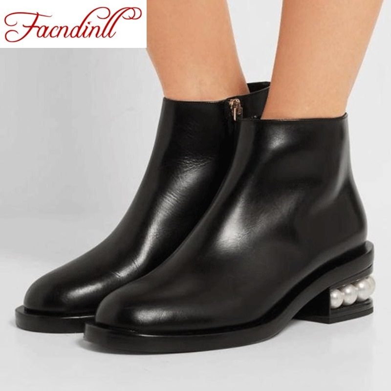 ФОТО brand design round toe thick heels fashion rivets women ankle boots 2016 high quality leather martin boots platform autumn boots