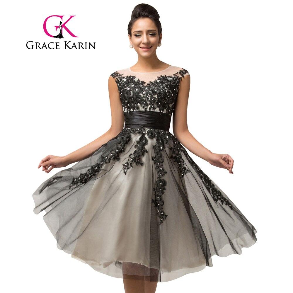 Women Evening Dresses Grace Karin Beading Sequins Vestidos Cap Sleeve Vestido De Renda Black Tulle Lace