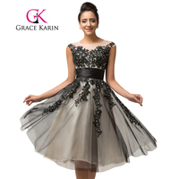 Women Evening Dresses Grace Karin Beading Sequins Vestidos Cap Sleeve Vestido De Renda Black Tulle Lace