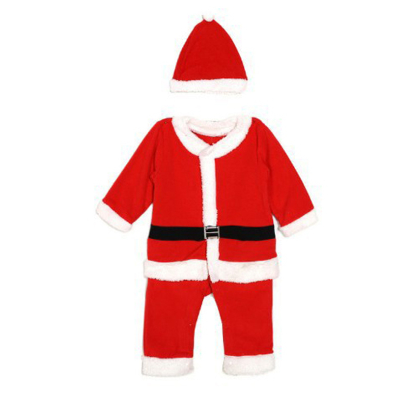 Retail Kids Christmas Clothing Set Santa Claus Costume For Baby Xmas Party Clothes Romper + Hat 2 pcs Sets Baby Wear недорого