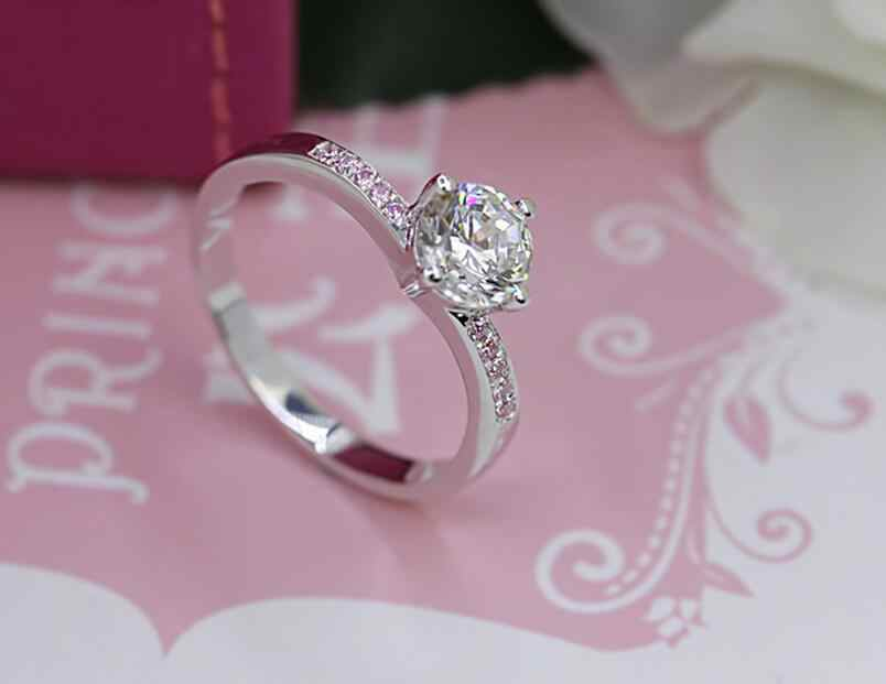 Bạc nguyên chất 1 Carat Con Người Tạo Diamant 925 Vòng Tình Yêu Đích Thực Cưới S925 Vòng Dây Trang Sức Dành Cho Nữ (JSA)