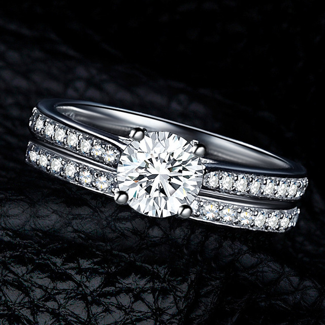 Silver Ring  Crystal Engagement Wedding Jewelry