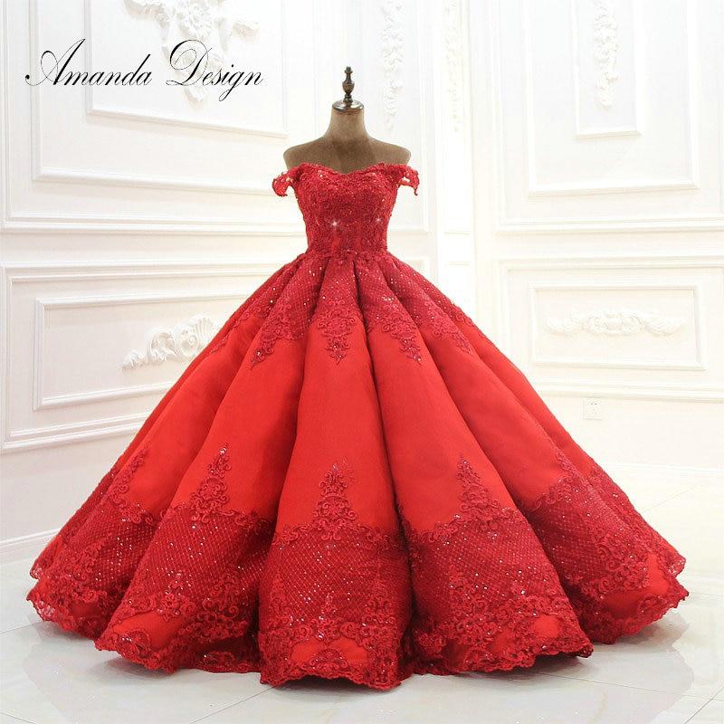 Amanda Design 2019 Off Shoulder Sleeves Lace Appliqued Pleated Satin Red Wedding Dresses