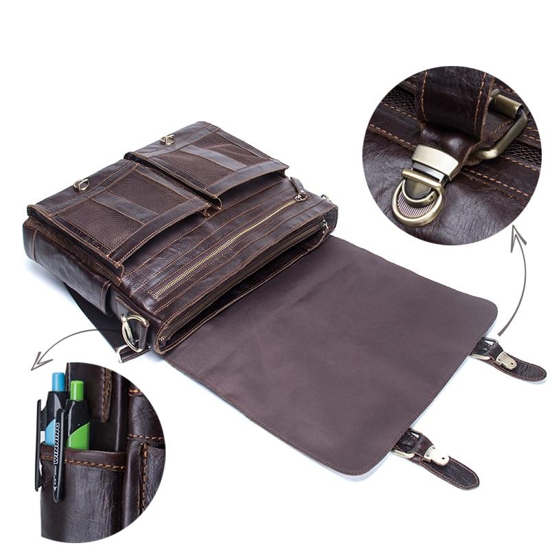 CONTACT'S men's briefcase genuine leather business handbag laptop casual large shoulder bag vintage messenger bags luxury bolsas 4