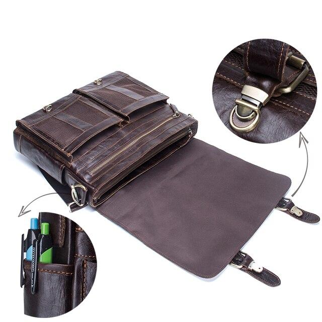 Contactbriefcase s masculino maleta de negócios couro genuíno bolsa portátil casual grande bolsa de ombro do vintage mensageiro sacos luxo bolsas 4