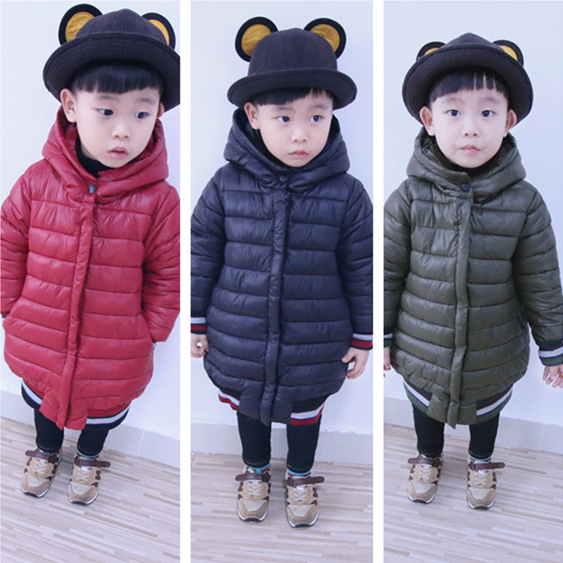 Winter Boys Girls Duck Down Coats Kids Long Sleeve Hooded Jackets Children Thick Warm Jacket and Coat Outfits for Winter YB271 casual 2016 winter jacket for boys warm jackets coats outerwears thick hooded down cotton jackets for children boy winter parkas