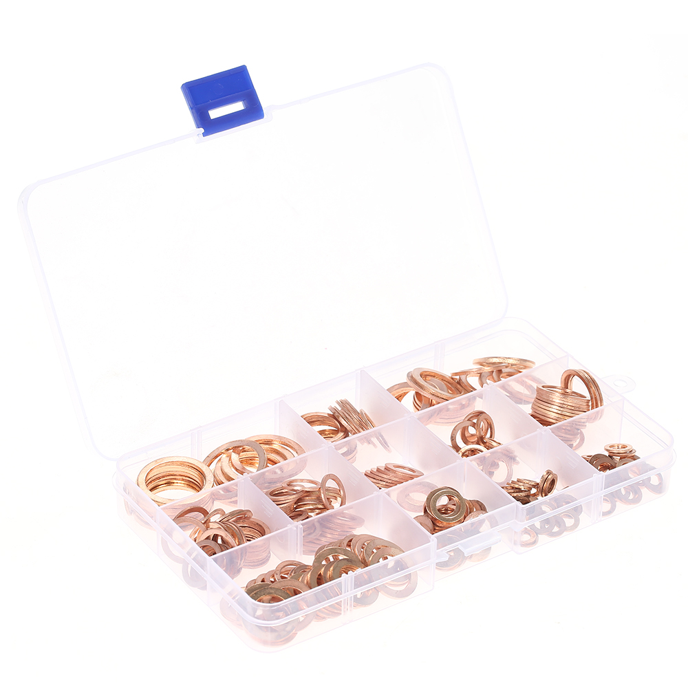 Pack of 280 Copper Washer Gaskets Assortment Kit Flat Rings Oil Seal Kit