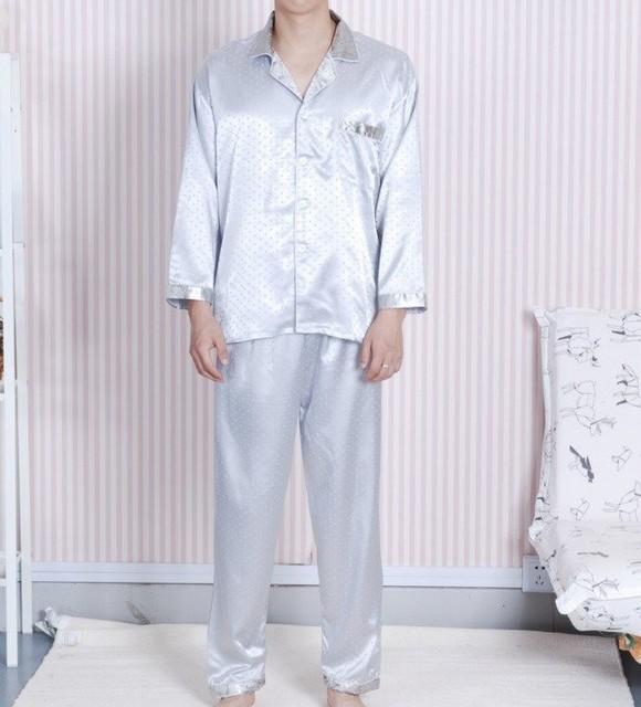 De plata Los Hombres Chinos de Seda Rayón 2 unid Ropa de Dormir ropa de dormir Robe Pijamas Conjuntos de Baño Vestido L XL XXL SH0007-A