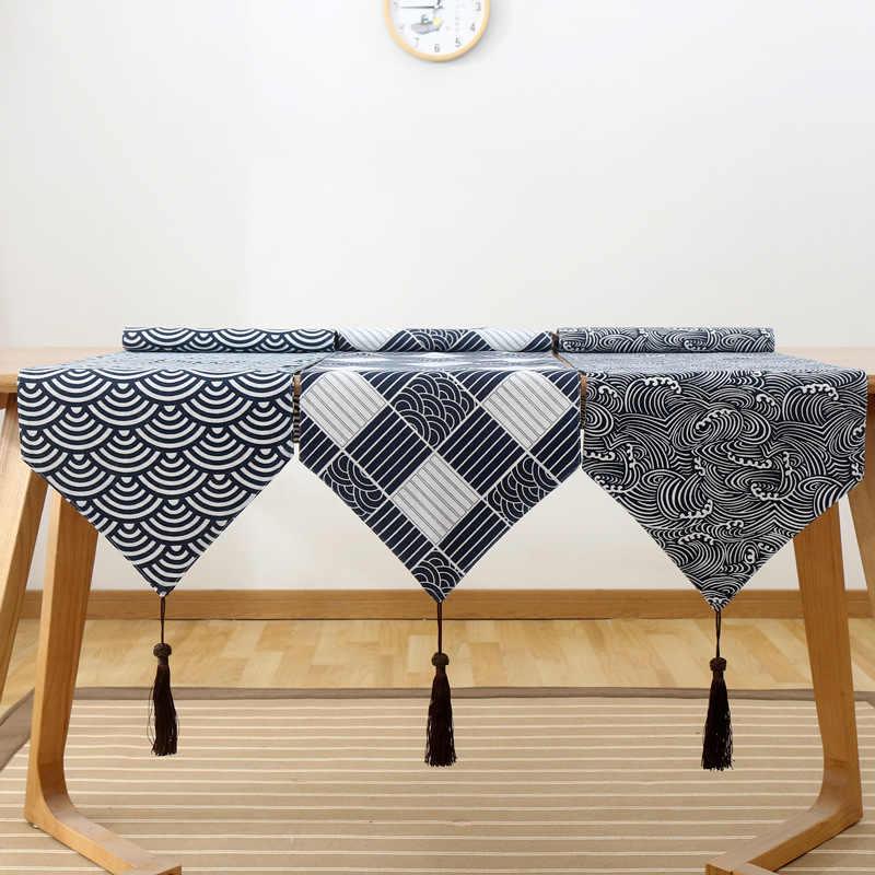 Японский стиль хлопок синий белый геометрический льняной настольный бегун дзен арт кровать бегун скатерть винтажная Скатерть Коврик