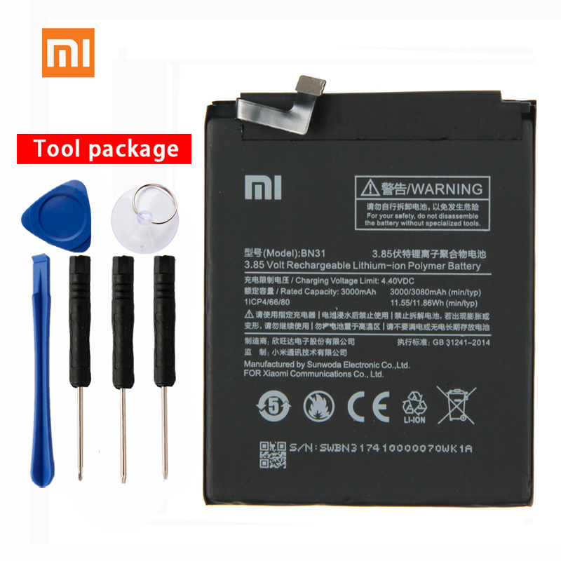 Original Xiaomi BN31 High Capacity Phone Battery For Mi 5X Mi5X 3080mAh