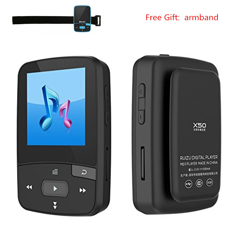 цена на Mini MP3 Player Bluetooth 4.1 RUIZU X50 Clip MP3 Player 8GB Sport Running Audio Player MP3 with FM Radio SD TF Card Slot