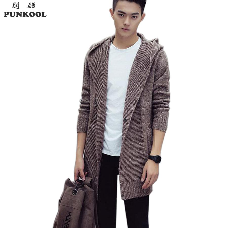 PUNKOOL Sweater Men 2016 Long Hooded Cardigan Men Sweater Jacket ...