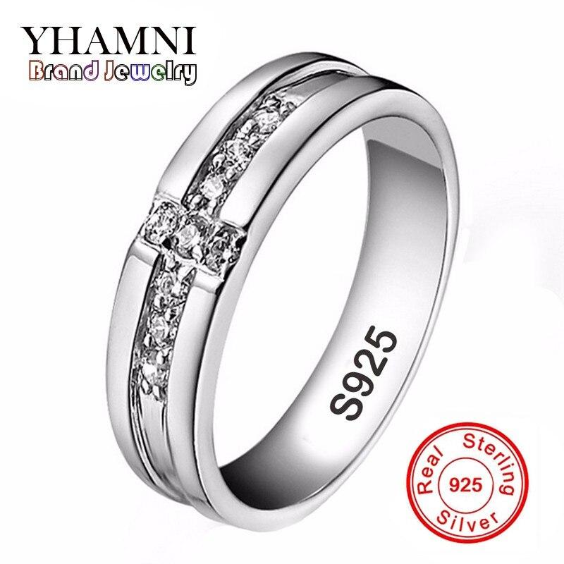 YHAMNI réel solide 925 argent croix anneaux cubique Zircon bijoux bagues de fiançailles cadeau pour amoureux Couple anneaux de mariage pour hommes AR11