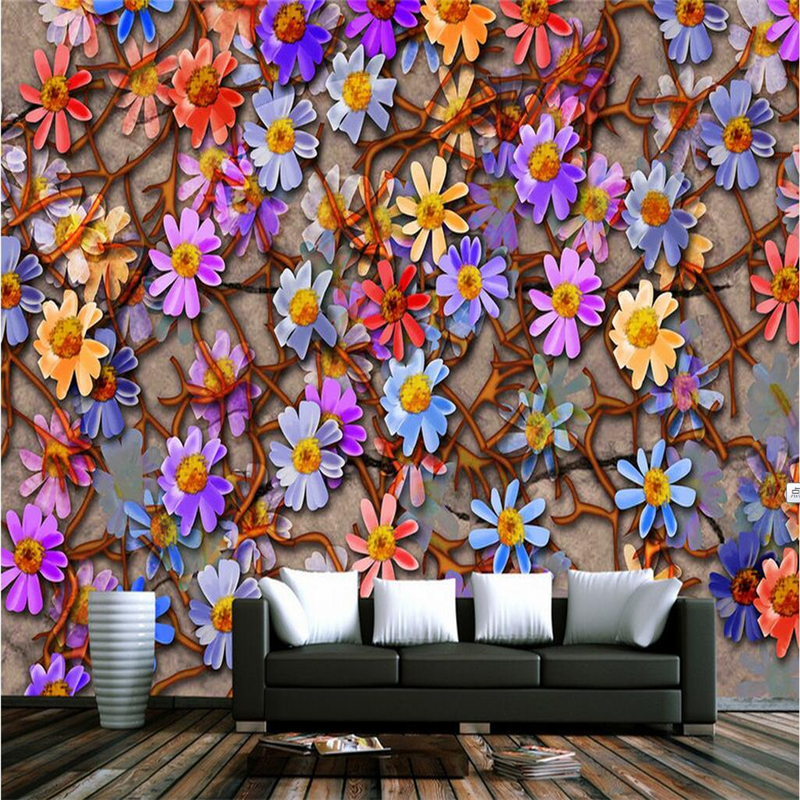 Vintage Wallpaper 3D Stereoscopic Daisy Photo Wall Murals Creative Color Hotel Wallpapers Wall Papers for Living Room Home Decor junran america style vintage nostalgic wood grain photo pictures wallpaper in special words digit wallpaper for living room