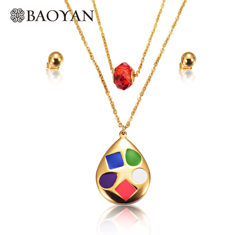 Baoyan Chic Bohemia Gold Color 316L Stainless Steel Red Rainbow Color Double Multi Layered Necklace Jewelry Designs for Women A5