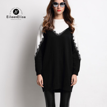 Runway Sweater Women 2017 Luxury Designer Long Sleeve Patchwork Sweater With Lace Long Sweaters Pullover