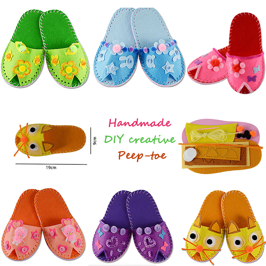 DIY Cute Peep-toe Slipper Shoes Kids Sewing Kit  Beginners My First Sewing Kit Handmade Craft Gifts Montessori Educational Toys