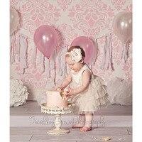 NeoBack 3x5ft 6x9ft vinyl Mỏng hồng Damask mẫu nền em bé mới sinh ra in Bánh sinh nhật Smash Phông Nền P0937