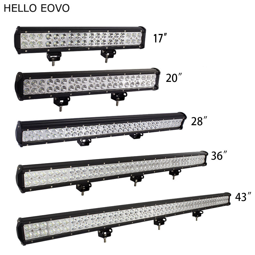 цена на HELLO EOVO 17 20 28 36 43 inch LED Work Light Bar for Indicators Driving Offroad Boat Car Tractor Truck 4x4 SUV ATV