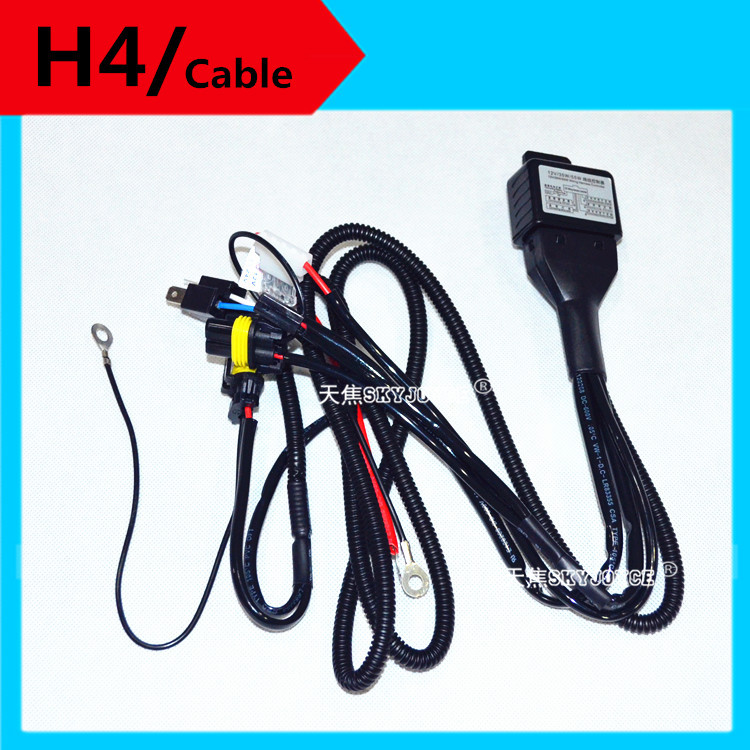 One For Two!High Quality HID Xenon H4 Hi/Lo Controller Relay Cable Harness Wires for HID xenon kit high low H4 control cable 1 set h4 9003 headlight hid xenon bulb wire harness connector relay fuse black h4 headlamp connector conversion kit