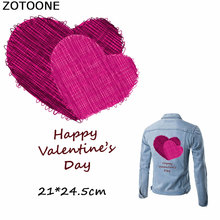 ZOTOONE Happy Valentines Day Double Sweet Heart Patchesfor Clothing Iron on Transfer DIY Thermo Stickers Clothes Applique E