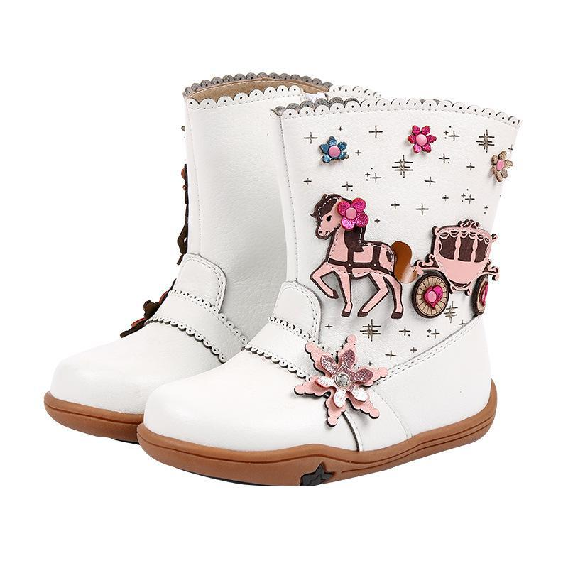 Autumn Winter Baby Girls Leather Boots For Plush Kids Shoes Mid-calf Fashion Rome Boots Waterproof Toddler Children Rubber Boots