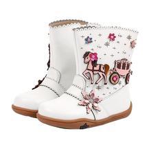 Botas de cuero de otoño e invierno para niñas, zapatos de felpa para niños, botas de moda a media pantorrilla, botas punta roma impermeables para niños pequeños, botas de goma