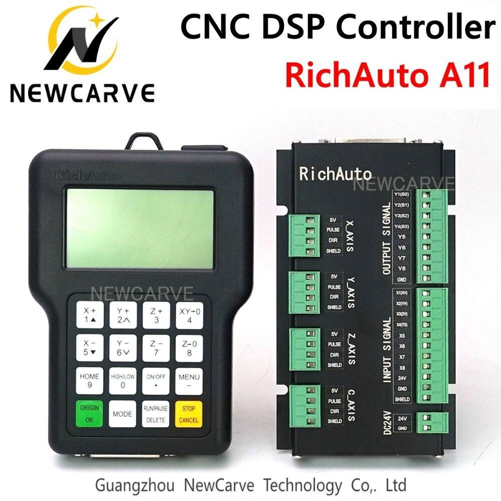 Contrôleur de CNC RichAuto DSP A11 A11S A11E 3 axes USB contrôleur à distance pour CNC routeur système de contrôle manuel NEWCARVE