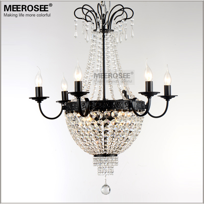 French Empire Crystal Chandelier Light Fixture Vintage Lighting Wrought Iron White Chrome Black Color In Chandeliers From Lights On