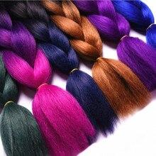 Полная звезда, 1 шт., синтетические черные, серые волосы, высокотемпературное волокно, Омбре, плетеные волосы, пряди, 24 дюйма, огромные косички, волосы для наращивания