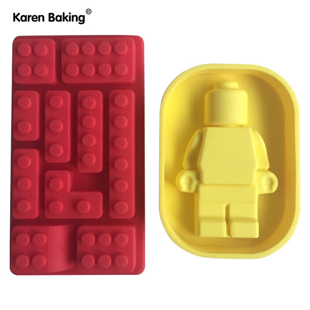 One Set Lego And Robot type Muffin Sweet Candy Jelly Fondant Cake Chocolate Mold Silicone Tool Baking Pan-- B205
