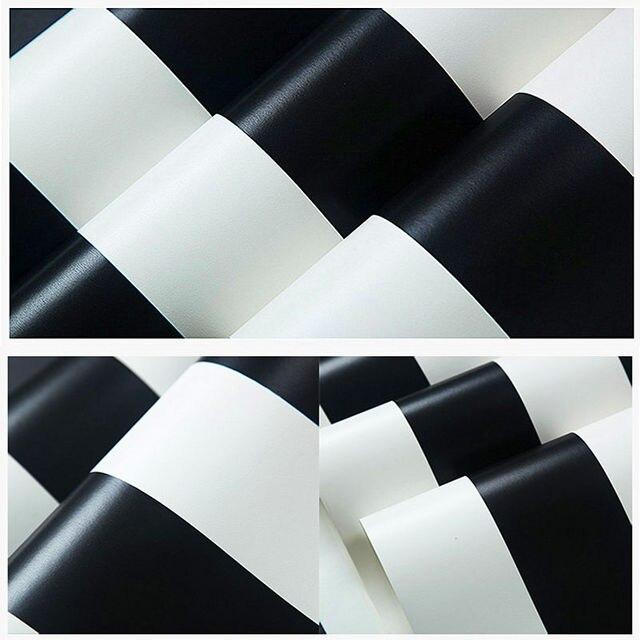 Livraison Gratuite Moderne Rayé Noir Et Blanc Papier Peint Lavable