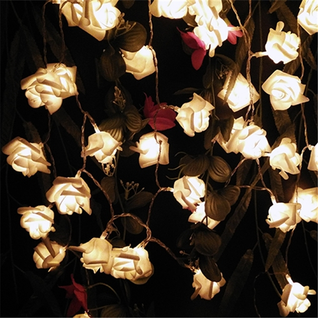 wedding rose led string lights battery valentines day party event birthday decoration - Valentine String Lights