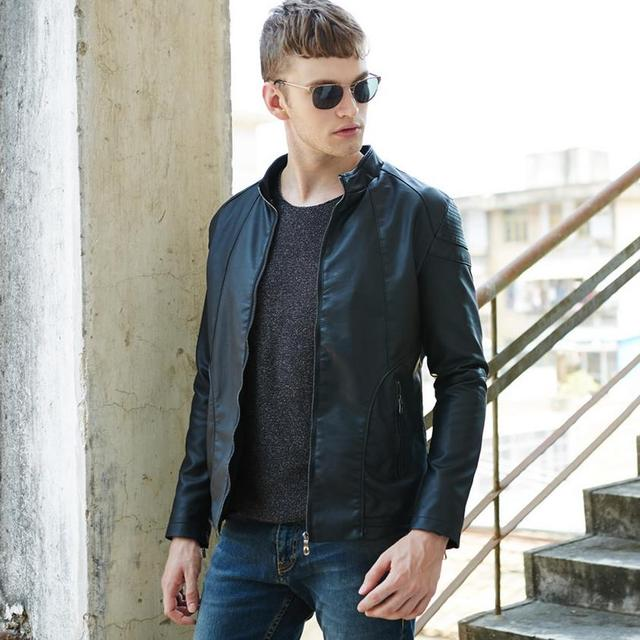 New men's fashion casual men's leather jacket motorcycle jacket, brand design free shipping