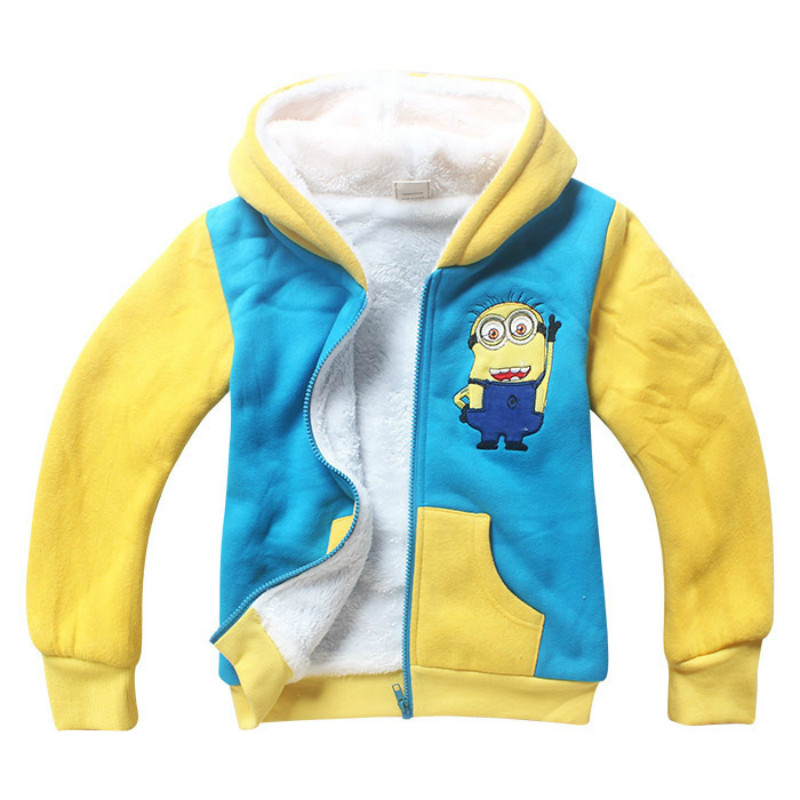 Baby Boys Winter Coral Velvet Minions School Jacket Children Boys Warm Sweater Minions Kids Fleece Coat Baby Cartoon Clothing ems dhl free shipping toddler little boys 3pc minions cartoon casual wear summer outfit children clothing 7 colors 80 90 100 110