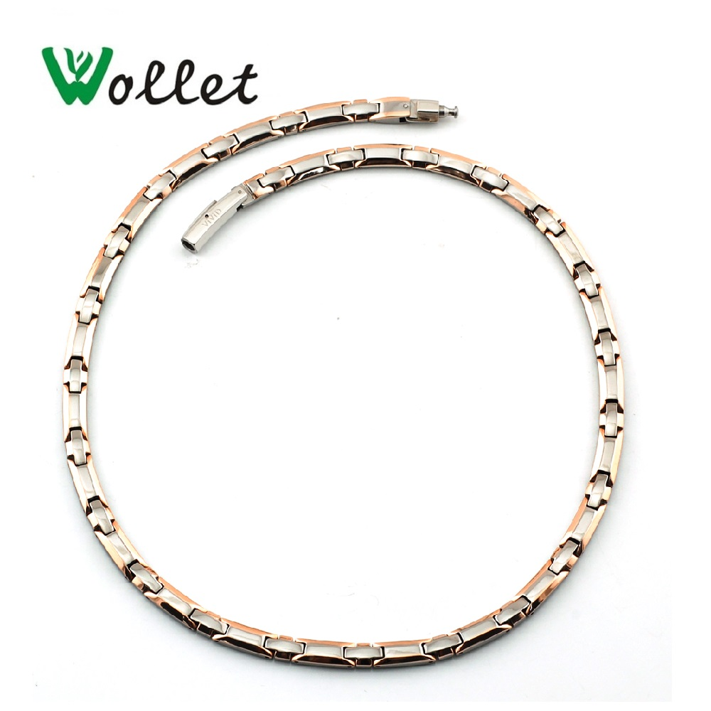 Wollet Jewelry Health Energy Titanium Magnetic Necklace For Women Men Hematite Germanium Rose Gold Metallic Silver
