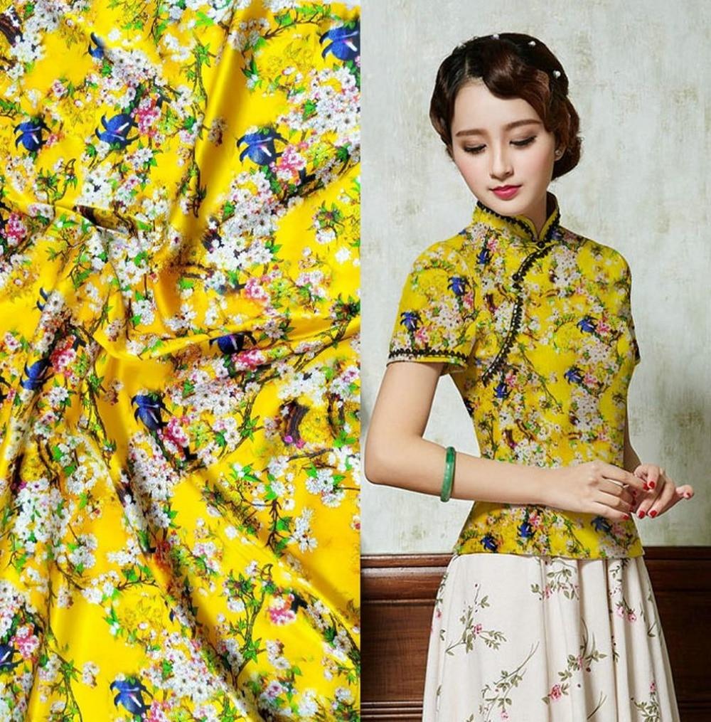 5ab750350c9 2019 Stoffen kleding naaien 3d желтый с цветочным принтом tkaniny стрейч  натуральный шелковая ткань материал платье ткань Tecidos a metr