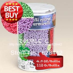 Nature Color 112g(4oz) Multi Colored Vermicelli 4 Cells Sprinkles/Jimmies;White,Green,Red,Purple;Edible Cake Decoration,Candy