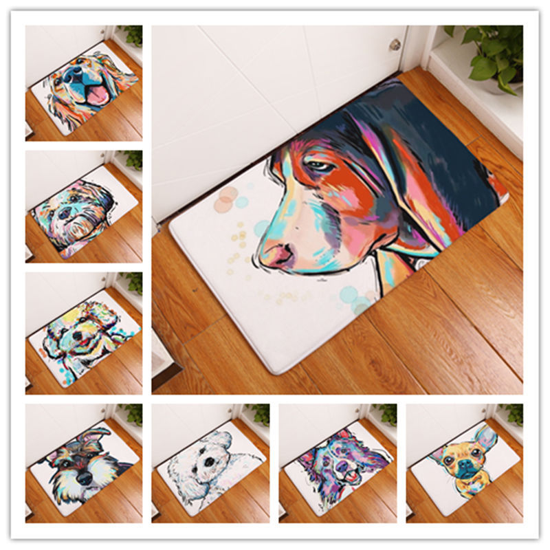 New Doormat for Entrance Door Indoor Doormat Dog Printed Door Mat Hallway Floor Mat Non Slip Doormat Cheap Rug and Floor Pad