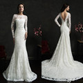 2017 Amelia Sposa Lace Mermaid Wedding Dresses Vintage Ivory Bateau Long Sleeves Sash Backless Court Train Bridal Gowns